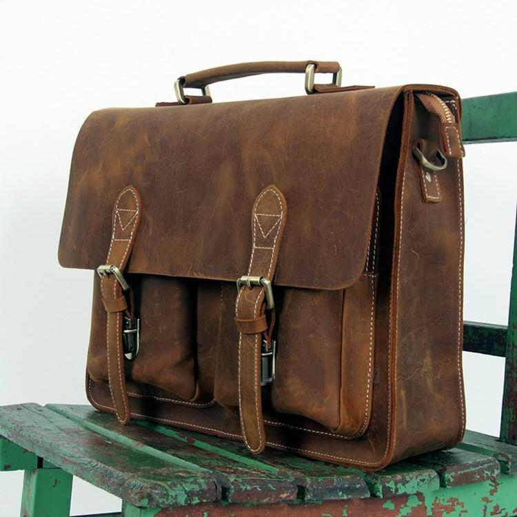 Large Handmade Vintage Leather Briefcase / Leather Messenger Bag ...