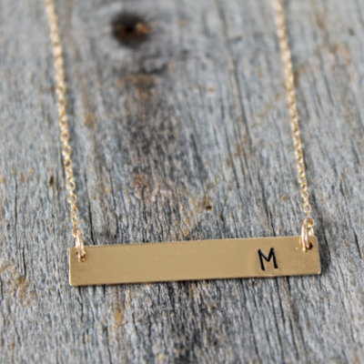 Gold bar initial necklace