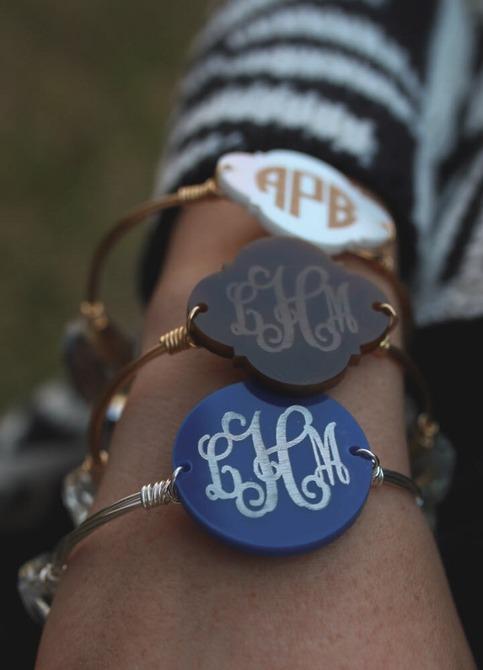 bangle wire bracelet w   engraved acrylic monogram    monogrammed bracelet  u00b7 sassy southern gals