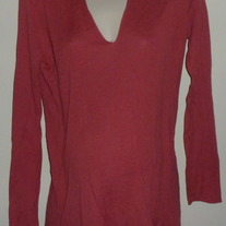 Dark Pink Long Sleeve Top with Hood-Mimi Maternity Size Large
