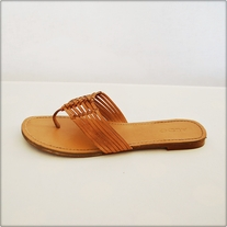Strappy Leather Flip Flops
