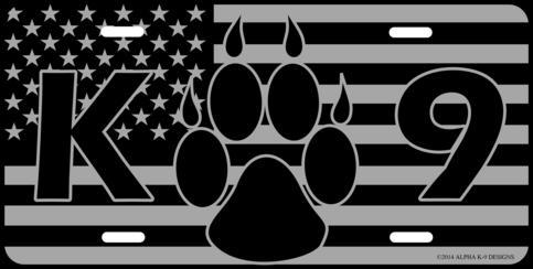 American K9 Flag License Plate 183 Alpha K 9 Designs Llc