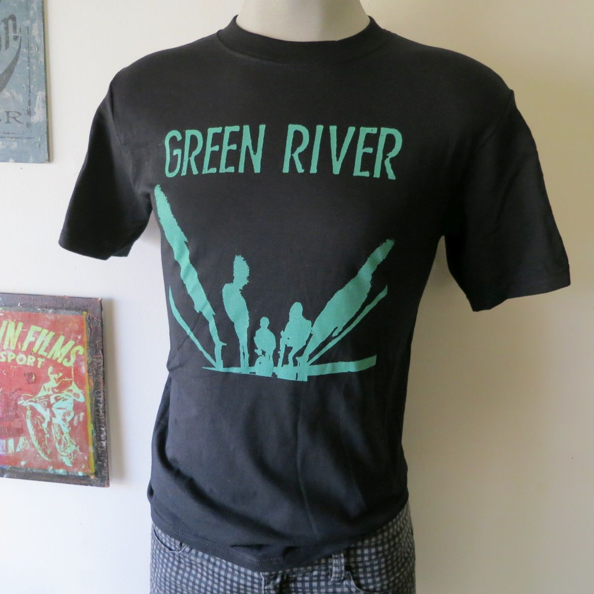 Green river t shirt screen print short sleeve black shirt for Vintage screen print t shirts