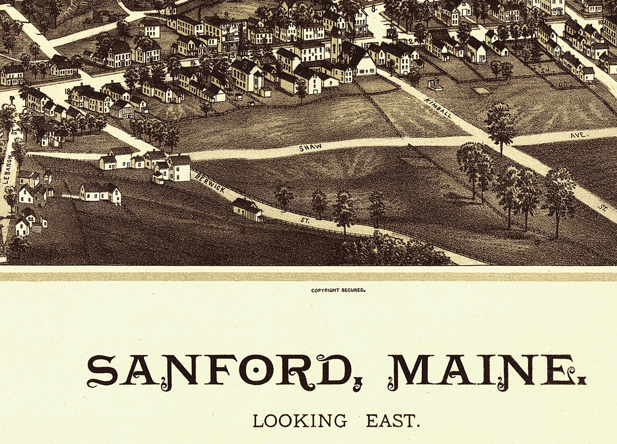 Sanford Maine In 1889 Bird S Eye View Map Aerial Panorama