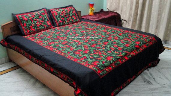 floral vine leaf multicolour bedspread embroidered bed cover sheet