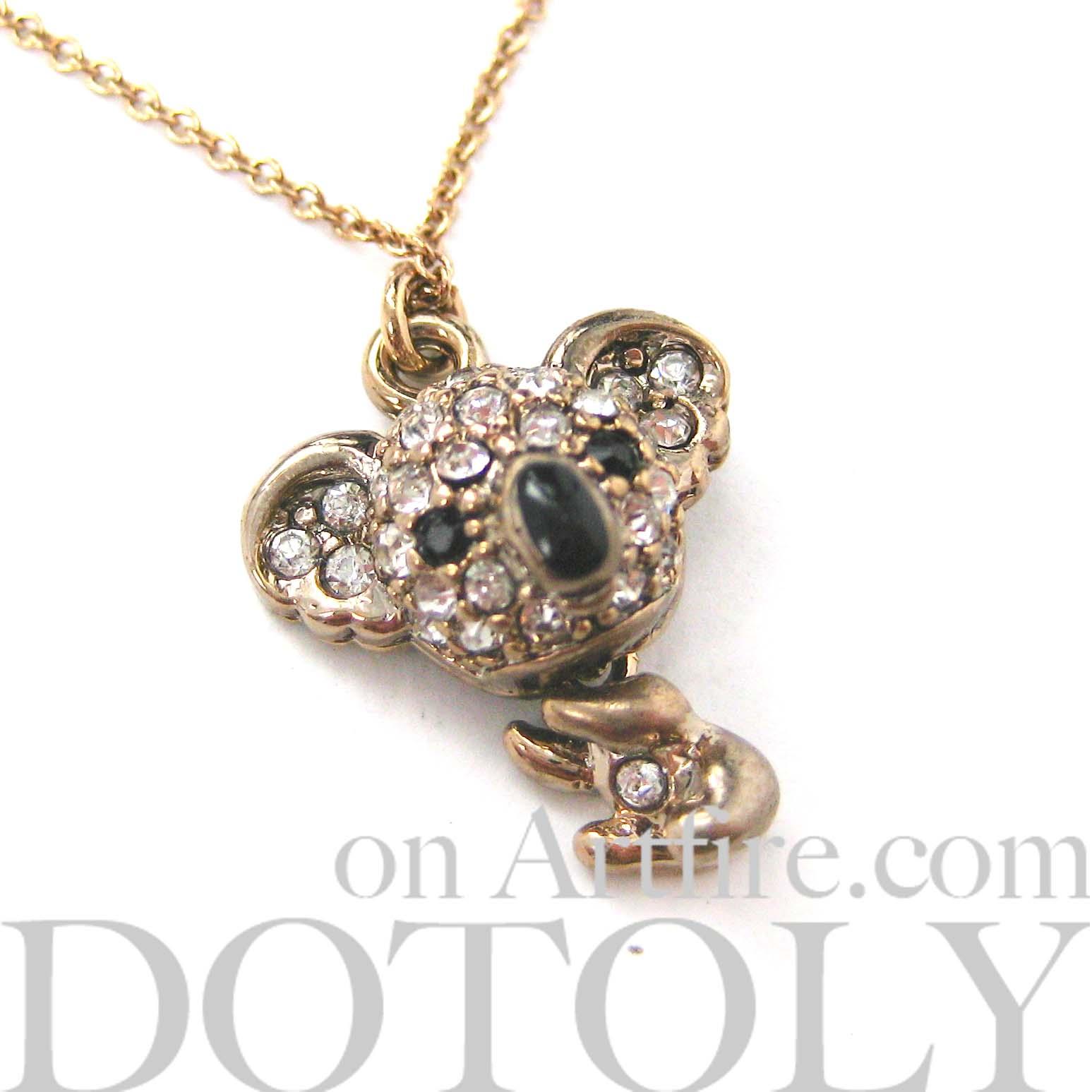 small koala teddy animal charm necklace in