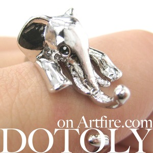 Elephant Wrap Around Ring in Shiny Silver for MEN and WOMEN Sizes 5 to 15 Available