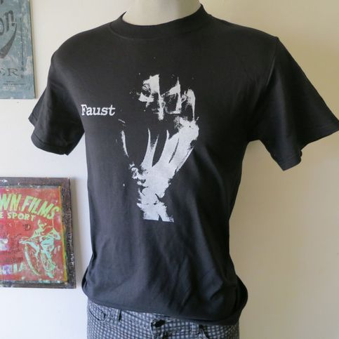 Faust t shirt screen print black short sleeve krautrock for Vintage screen print t shirts