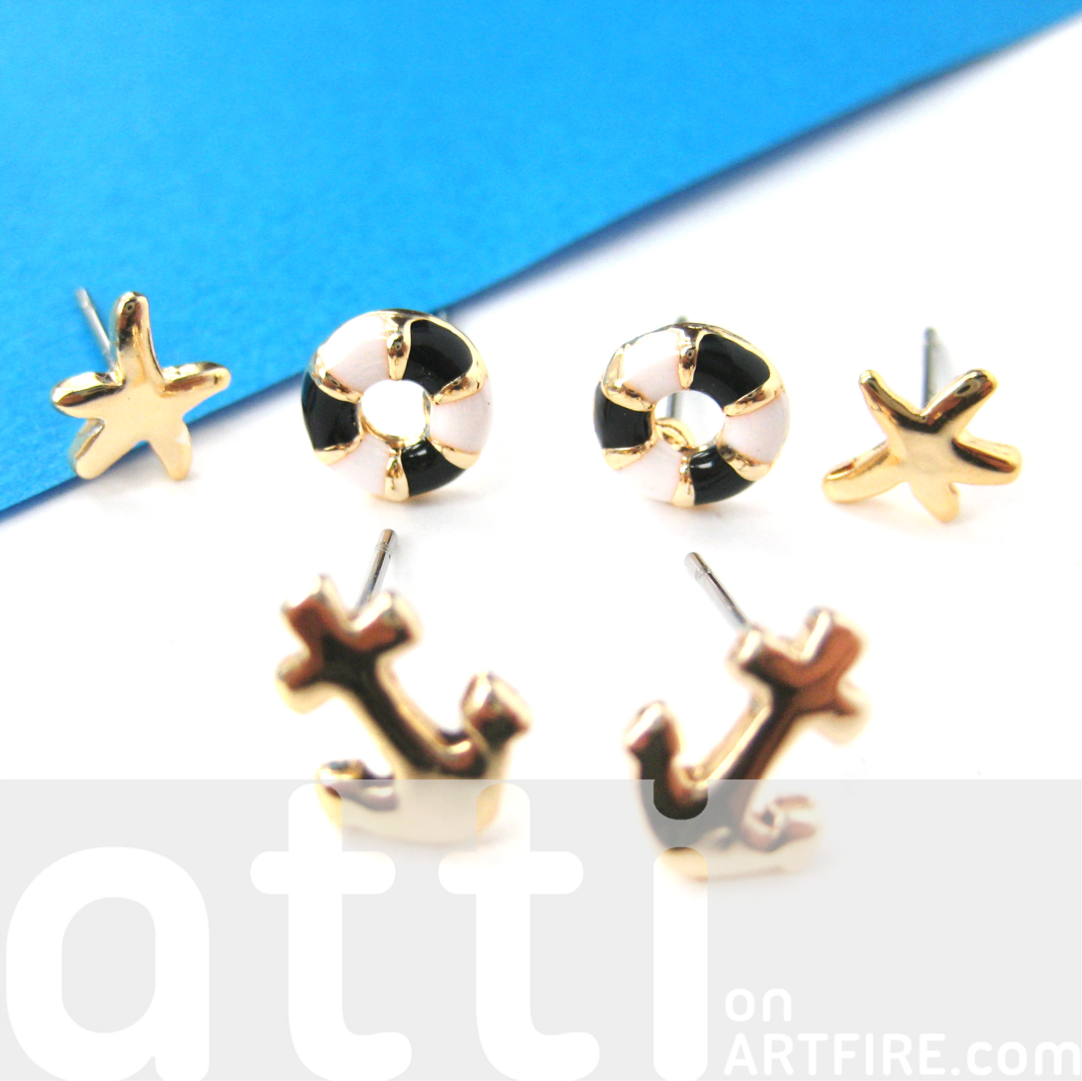 anchor original nautical buoy collections earrings thumbnail earring set img products piece small stud life starfish
