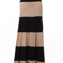 Colorblock Black & Taupe Biscot Jersey Long Tank Maxi Dress Skirt Striped SML