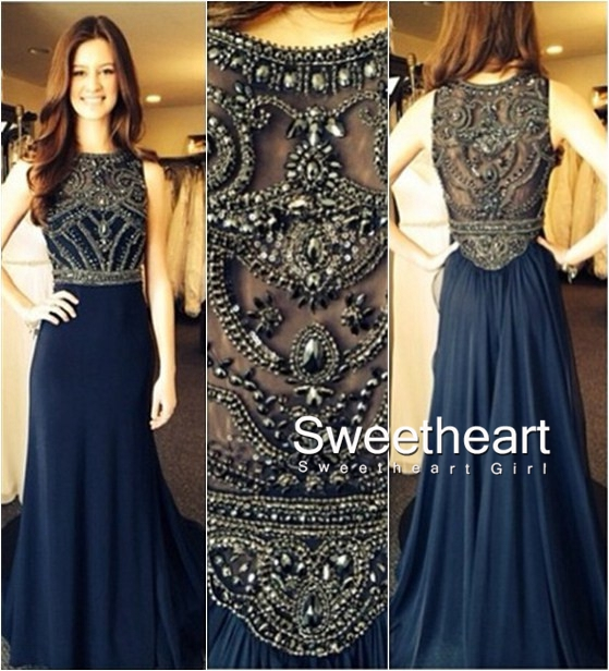 Sweetheart Girl | Dark Blue Chiffon A-line Beaded Long Prom ...