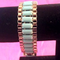 Mint & Gold Linked Bracelet