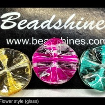 Glass Flower shape bead (dz) 25mm