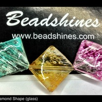 Glass Diamond shape bead (12 pcs) 20mm