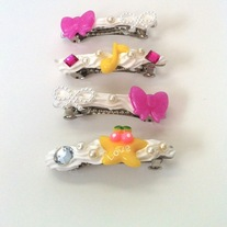 pink white yellow music note rhinestone pearl bow cherry love frosting star hair clip barrettes
