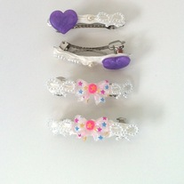 pink white purple barrettes fairy kei whipped cream bow heart hair clips