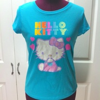 M blue pink purple rainbow tee fairy kei short sleeve bow heart top hello kitty t-shirt
