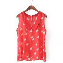 Red cat print chiffon blouse
