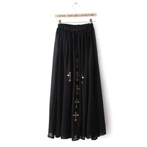 Cross print maxi chiffon skirt