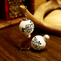 Black and White Porcelain Blossom Earrings