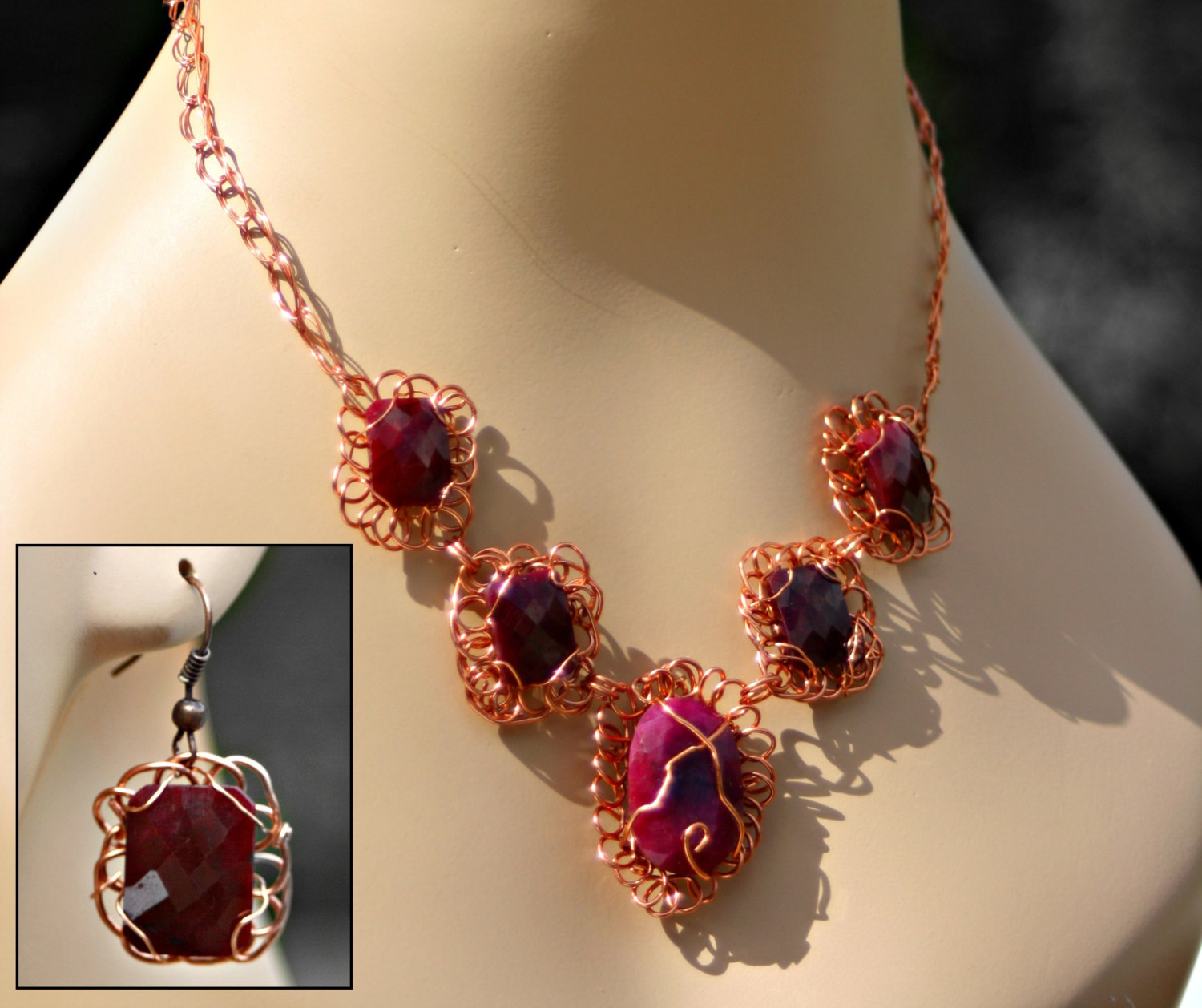 Ruby and Pink Beryl Necklace Set
