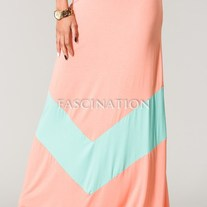 Colorblock Apricot Peach Mint Green Chevron Stripe Solid Long Maxi Skirt SML