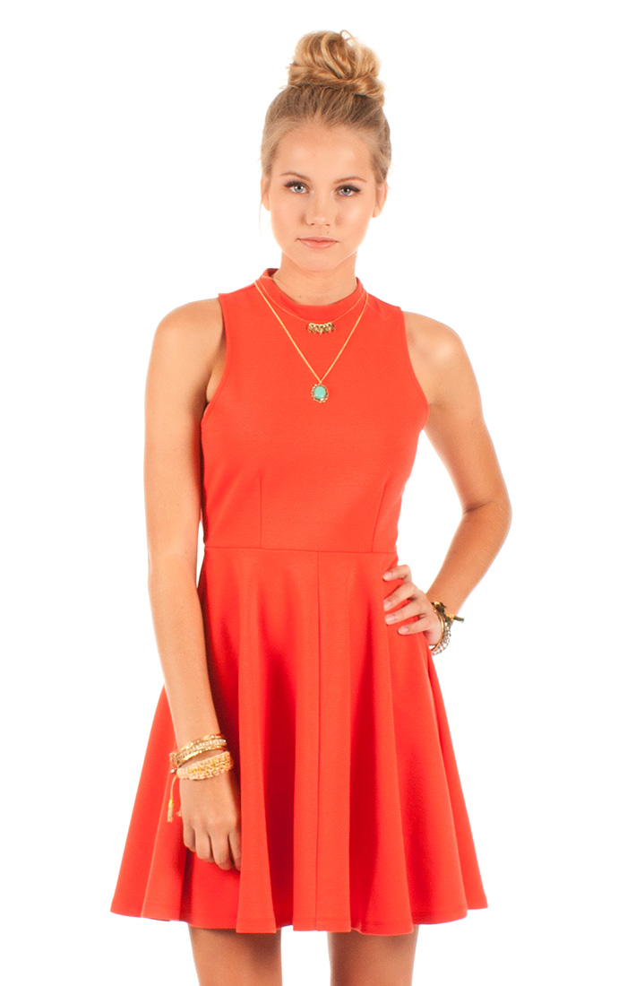 red orange skater destiny dress by others follow tqs