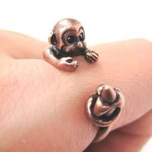 Miniature Monkey and Banana Animal Wrap Around Ring in Copper - Sizes 4 to 8.5
