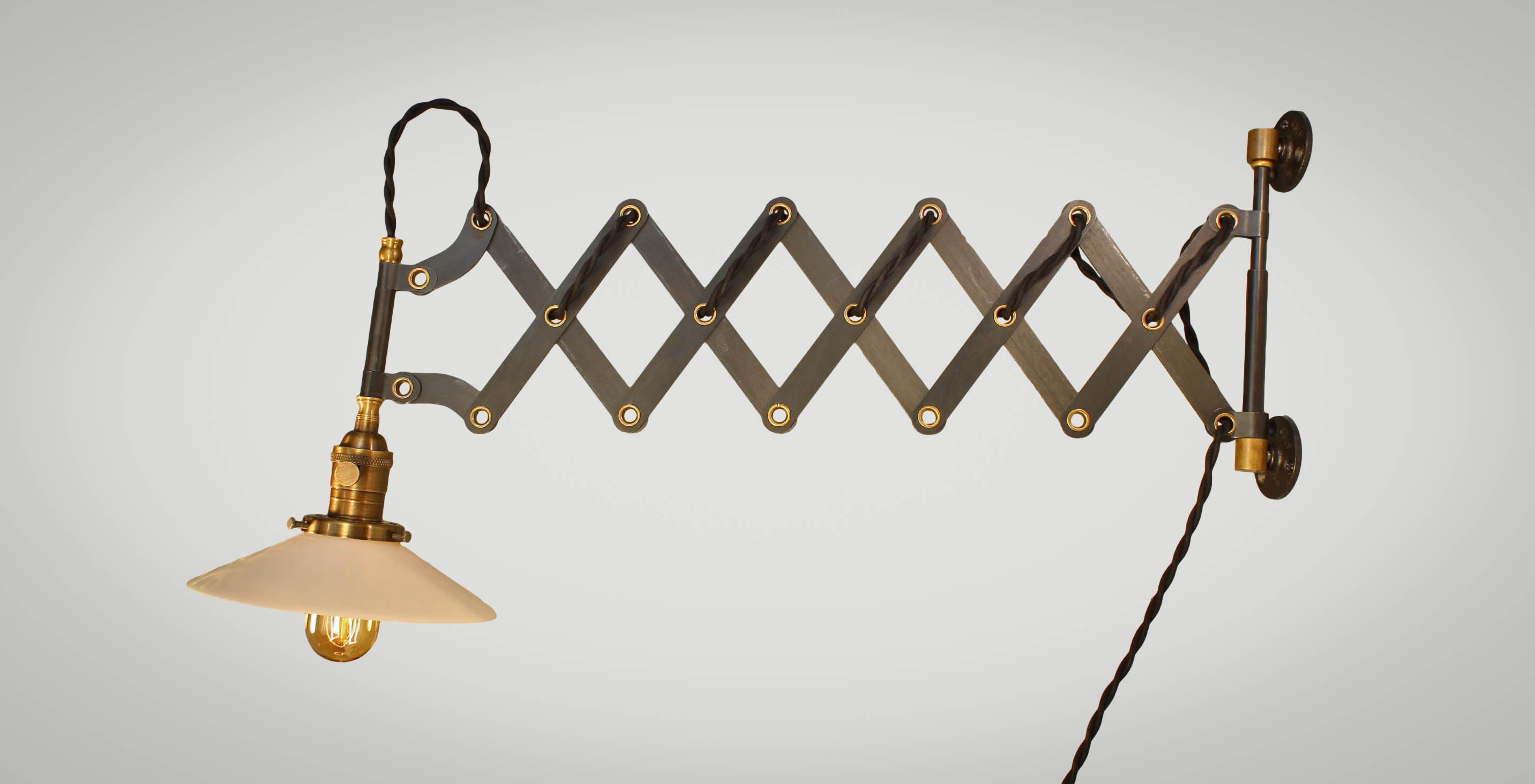 Captivating ... Vintage Industrial Scissor Light   Expandable Accordion Swing Arm Wall  Sconce Steampunk Lamp   Black Steel