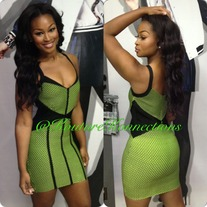 Green & black bandage dress