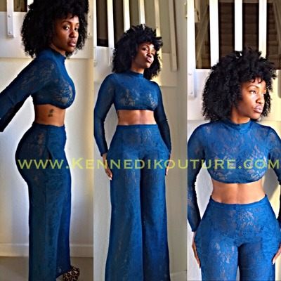 "Custom ""dead winter"" 2 piece wide leg and crop top lace"