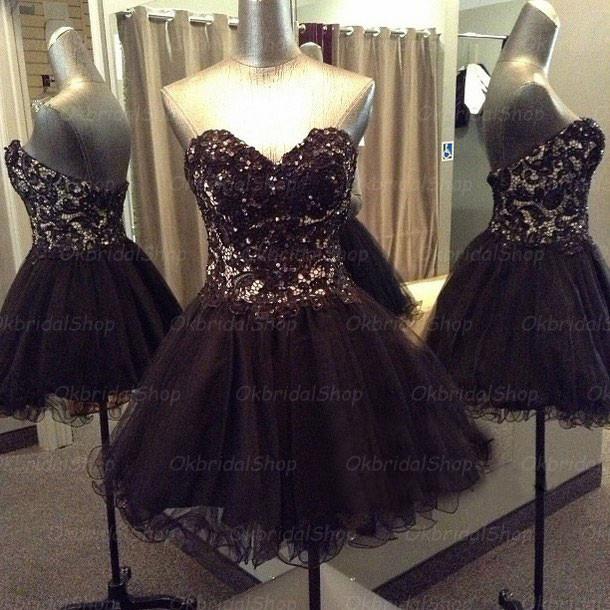 lace prom dress, short prom dress, black prom dress, sequin prom ...