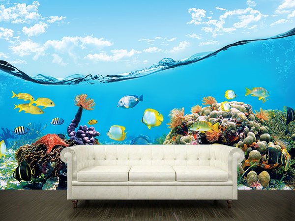 Wall sticker mural ocean sea underwater decole film poster for Cheap wall mural posters