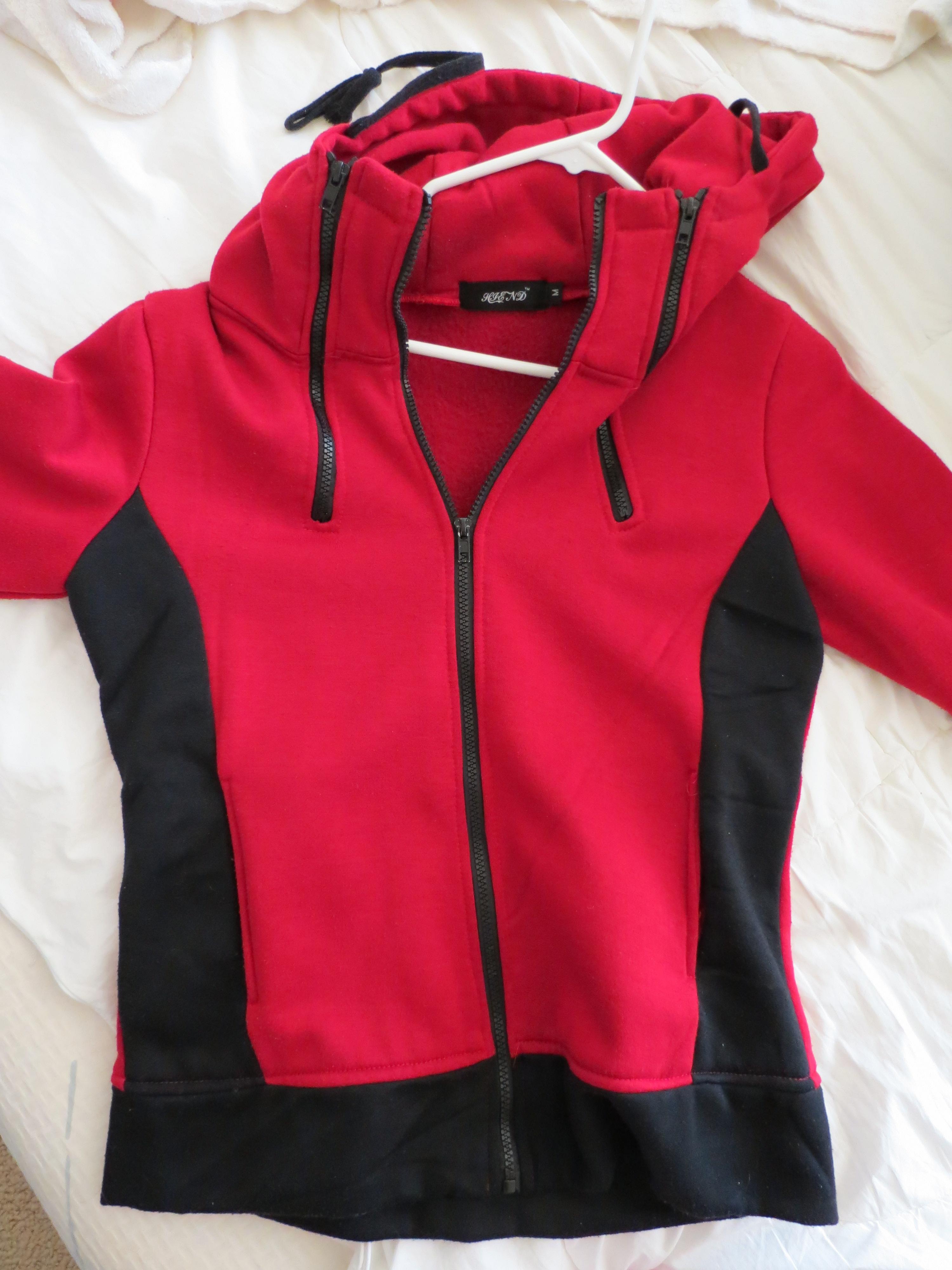 Red and black hoodie zip up