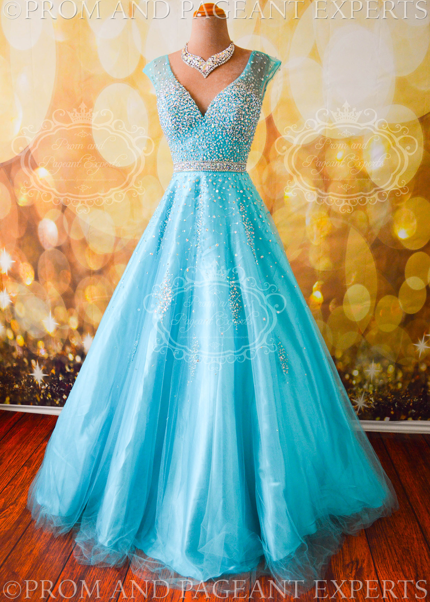 Turquoise Cindy Prom Pageant Evening Formal Ball Gown Dress Size ...