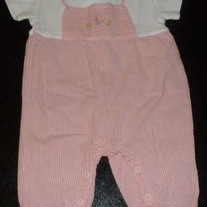 Pink/White Gingham Short Sleeve Romper-Gymboree Size 3-6 Months