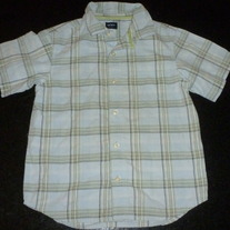 Light Blue/Green Plaid Short Sleeve Shirt with Buttons/Collar-Carters Size 5