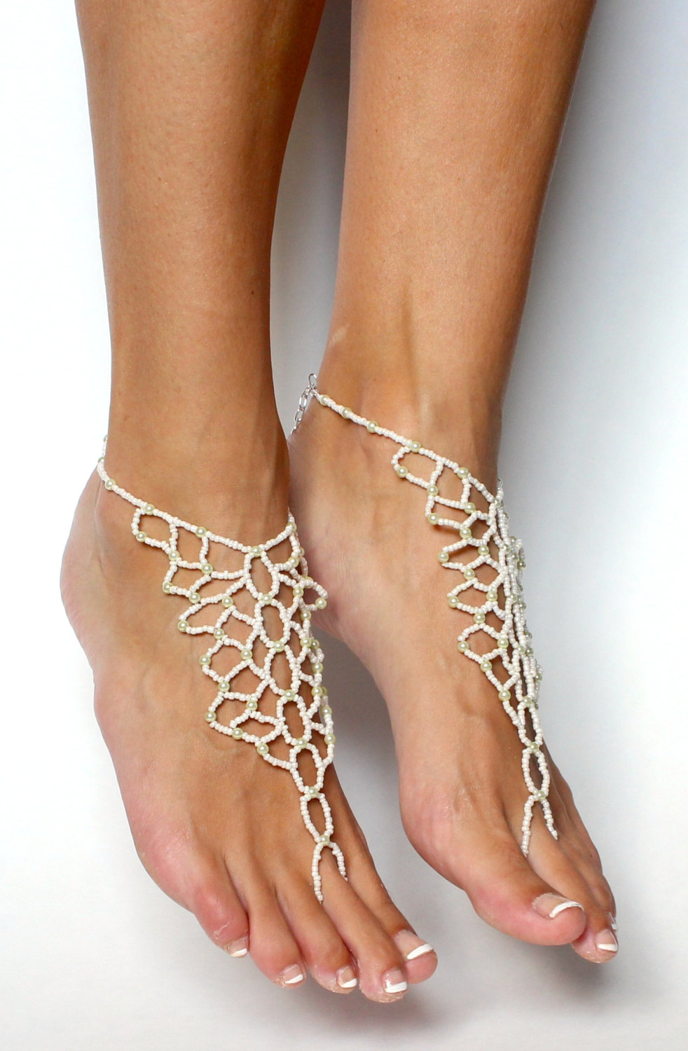 Bridal Jewelry Barefoot Sandals Wedding Foot Anklet Sandles For A Beach In Snow
