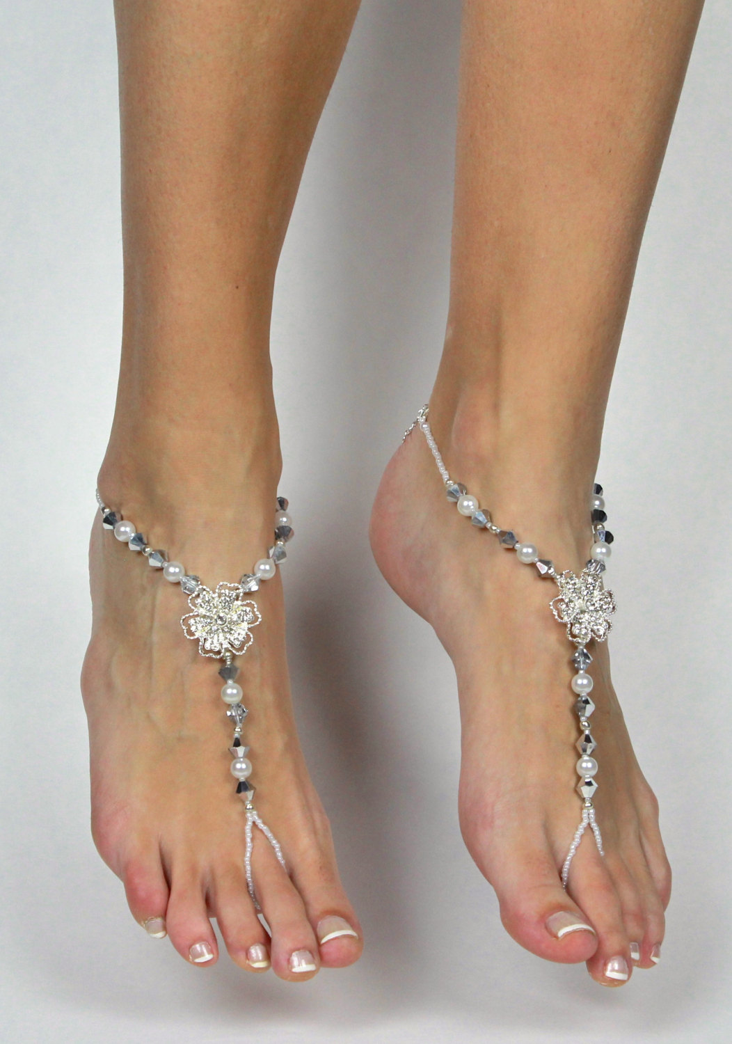 Rhinestone Flower Silver And White Barefoot Sandals Foot
