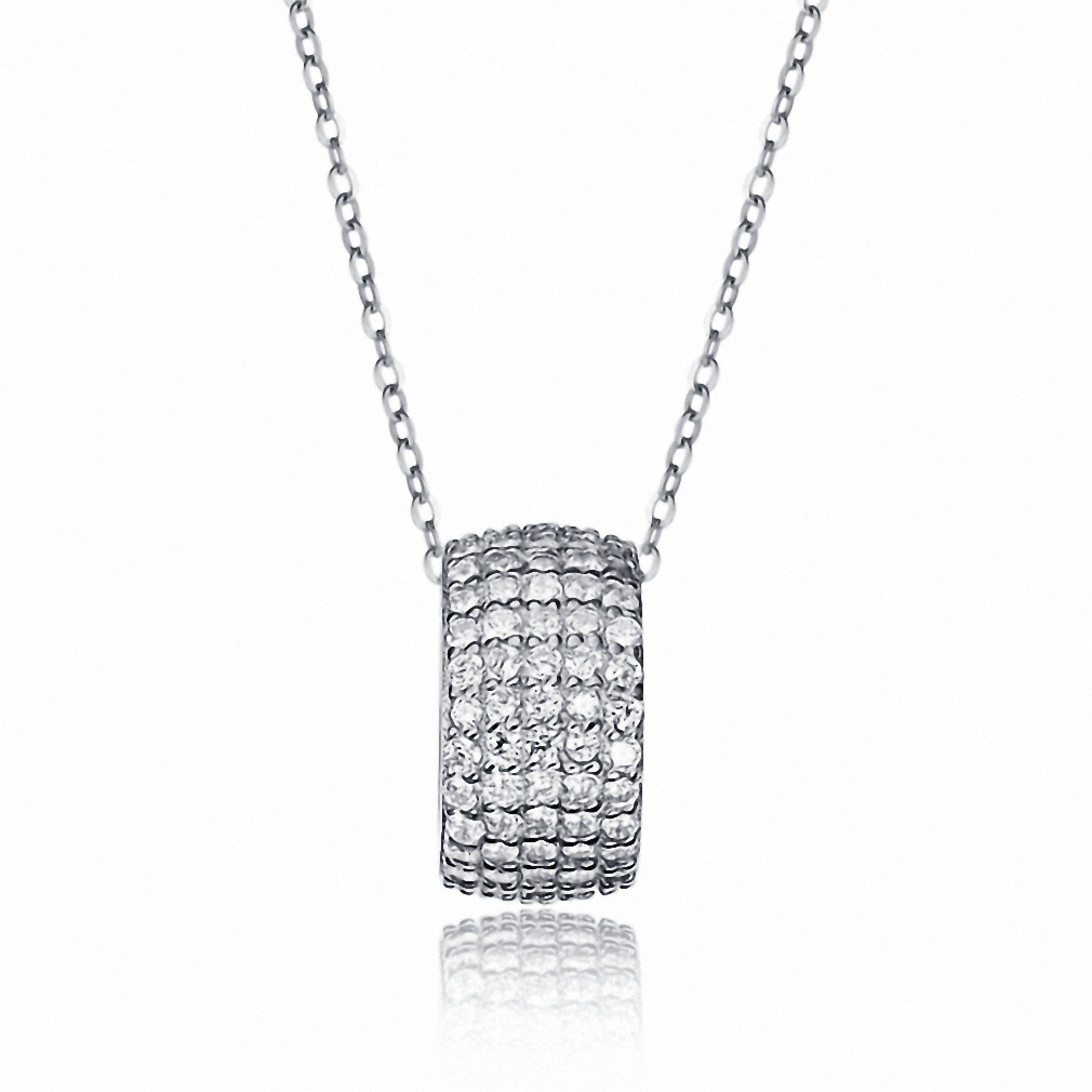 Womens 925 sterling silver cubic zirconia ring pendant necklace womens 925 sterling silver cubic zirconia ring pendant necklace jewelry 18 chain mozeypictures Choice Image