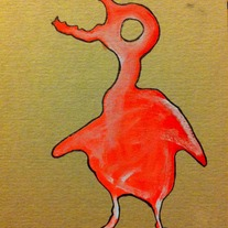RAVENOUS HATCHLING! original art on found paper