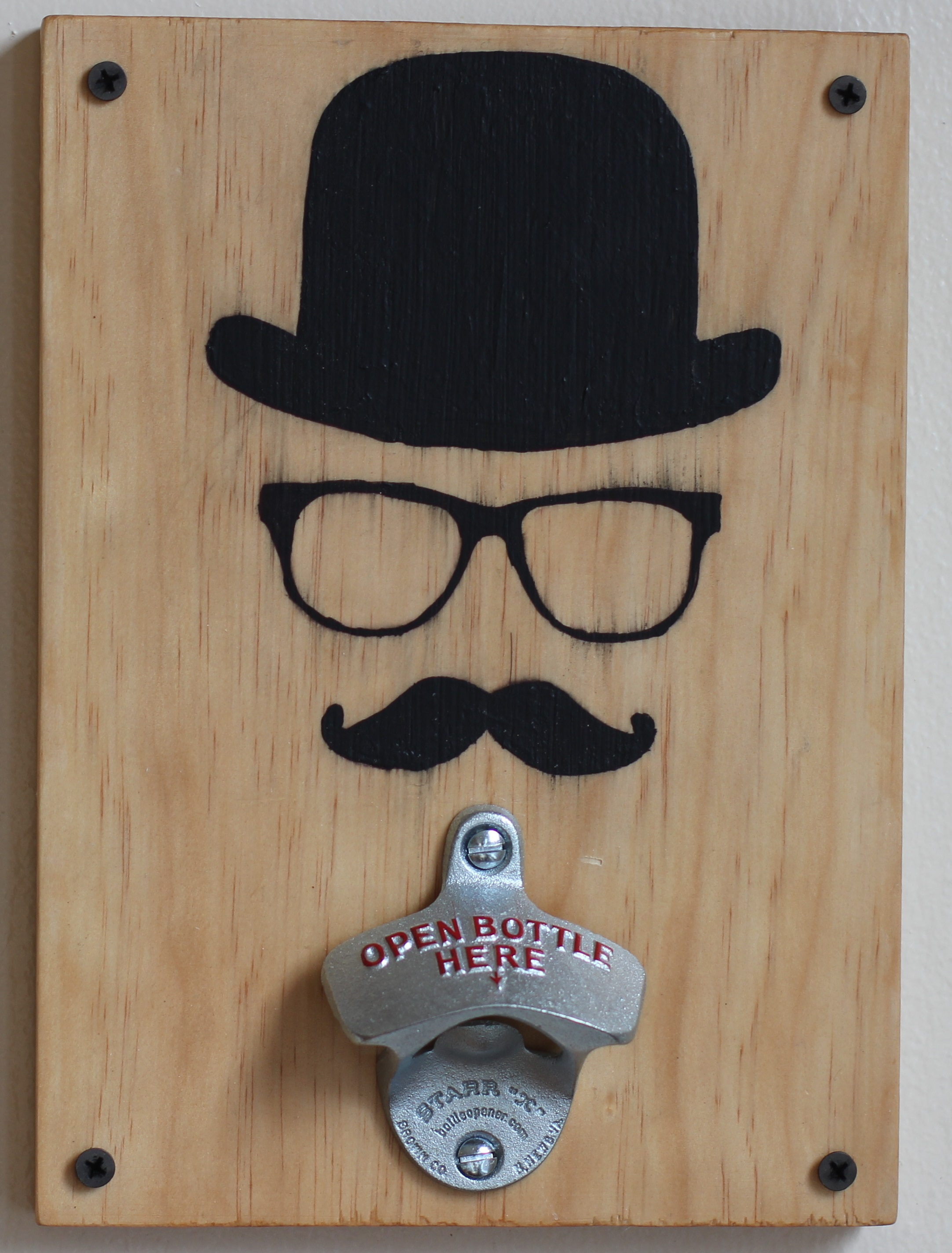 live in living color moustache and hat wall mounted bottle opener online store powered by. Black Bedroom Furniture Sets. Home Design Ideas