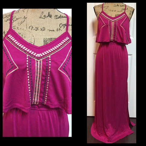 Embroidered Bib Maxi Dress  Jaded Bliss Boutique  Online