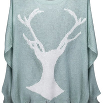 Deer Print Distressed Mint Jumper