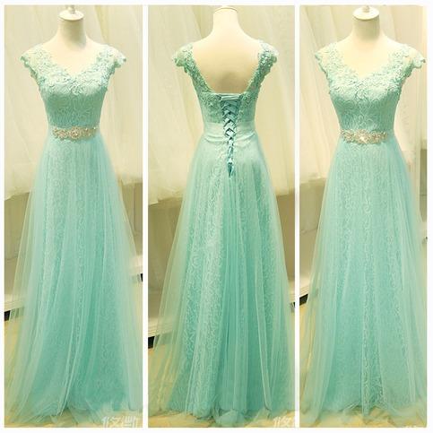 mint lace prom dress lace prom dress cap sleeve prom