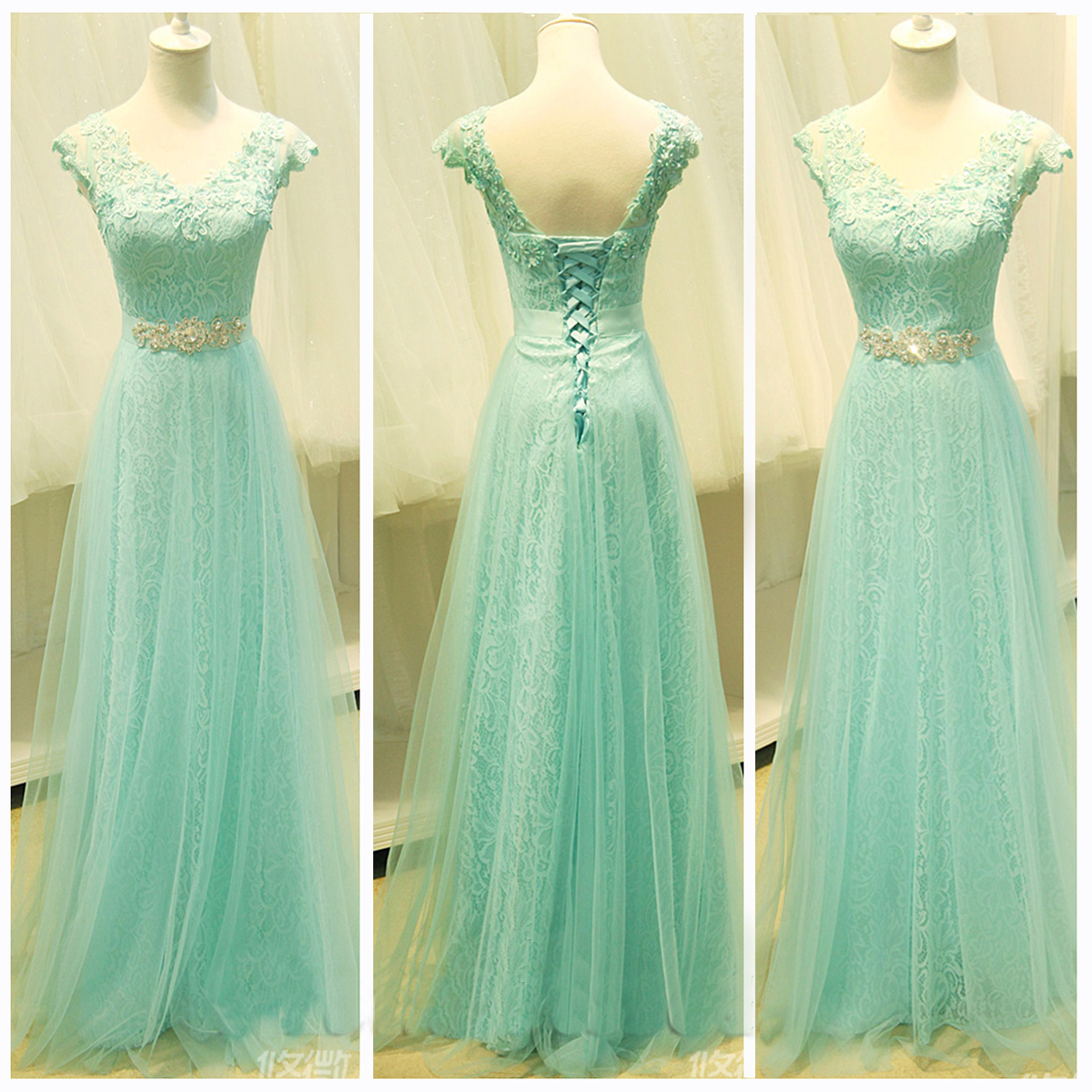 Mint lace prom dress, lace prom dress, cap sleeve prom dress, prom ...