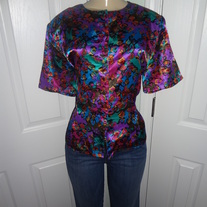 Vintage Colorful Polyester Blouse Size 14P