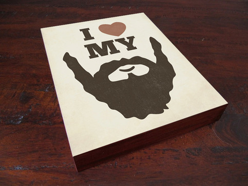 I Love My Beard Wood Block Art Print