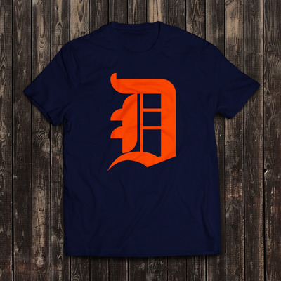 Old english d - blue and orange