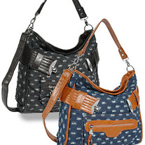 Sparkling Denim Tall Hobo Handbag  ( Black )